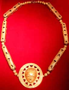 Akan Gold Beaded Necklace Featuring a Mask Pendant
