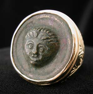 Gold Ring with Roman Bronze Button