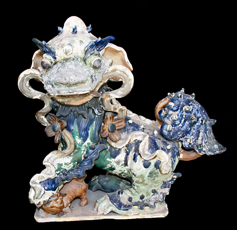 Ming Glazed Sculptures of a Fu Dogs