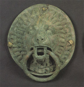 Roman Bronze Lion Mask Handle