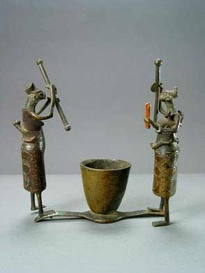 Fon Sculpture of Two Standing Figures and a Vessel
