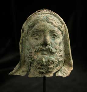 Roman Period Bronze Head of a Bearded Deity