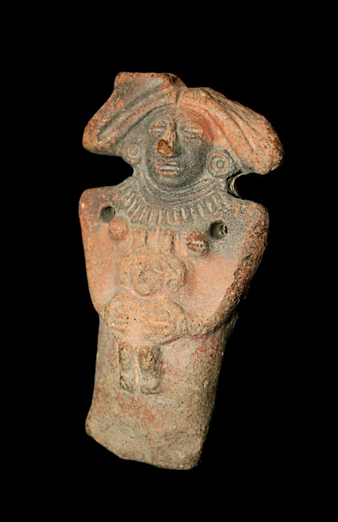 Mayan Terracotta Figure of a Mother and Child