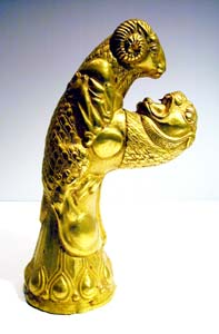 Achaemenid Style Gold Sculpture Depicting a Lion Attacking a Ram