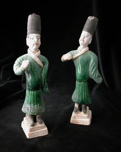 Pair of Ming Glazed and Painted Attendants