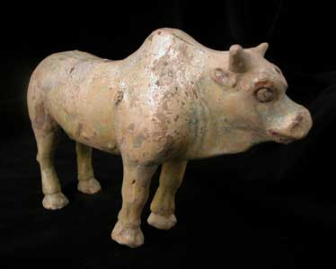 Eastern Han Frosted Green-Glazed Terracotta Sculpture of an Ox
