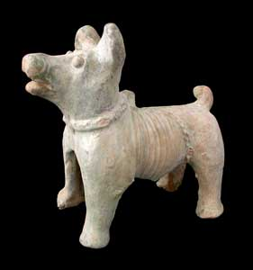 Eastern Han Frosted Green-Glazed Terracotta Sculpture of a Dog