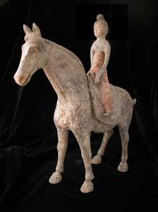 Tang Painted Terracotta Horse with Removable Saddle and Lady Rider