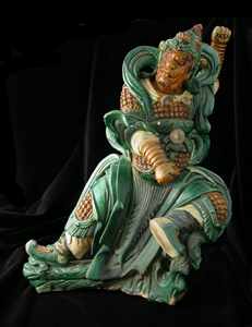 Ming Glazed Terracotta Sculpture of a Warrior From a Temple