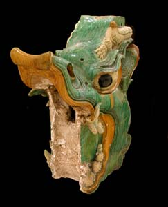 Ming Glazed Terracotta Sculptural Tile of a Dragon's Head