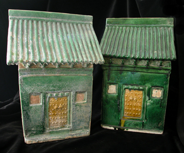 Pair of Ming Glazed Terracotta House Façades