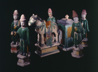 Set of Five Ming Glazed Terracotta Attendants, a Horse, and a Pagoda