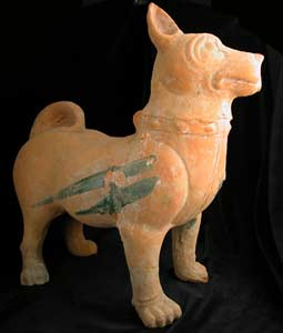 Han Terracotta Sculpture of a Dog with Glazed Highlights
