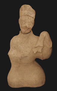 Eastern Han Terracotta Sculpture of a Smiling Attendant