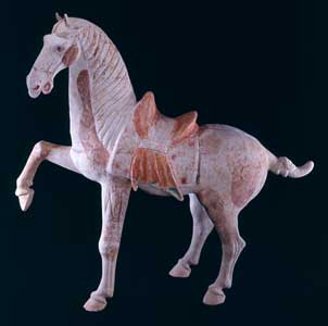 Tang Painted Terracotta Sculpture of a Prancing Horse