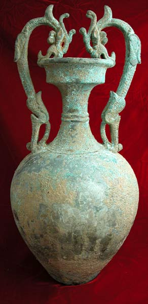 T'ang Bronze Vase with Dragon Handles