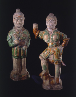 Pair of a Tang Sancai-Glazed Lokapala and Attendant