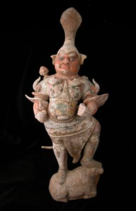 T'ang Gilt Polychrome Sculpture of a Lokapala