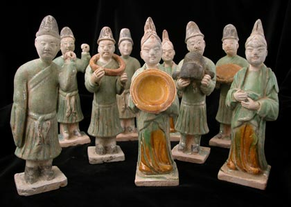 Set of Nine Ming Glazed and Painted Terracotta Attendants