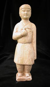 Sui Glazed Polychrome Sculpture of an Attendant