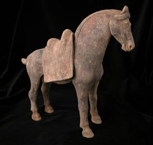 T'ang Polychrome Horse with Removable Saddle