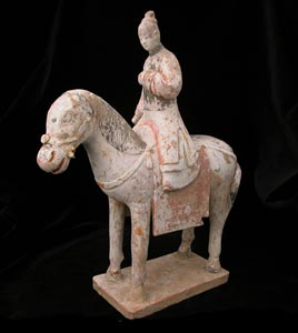 Ming Gilt Polychrome Terracotta Sculpture of a Horse and Rider