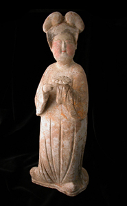 T'ang Painted Terracotta Sculpture of a Lady-in-Waiting