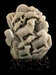 Lavender Jade Sculpture Depicting Sheep in a Landscape