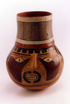 Late Nazca Polychrome Head Vessel