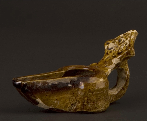 Brown-Glazed Oil Lamp