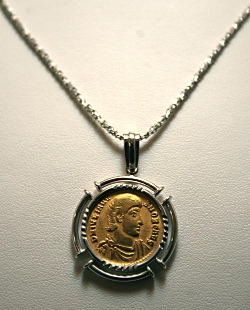 Gold Coin Of Emperor Julian II mounted on an 18 Karat White Gold Necklace