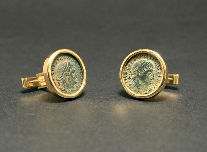 Cufflinks Featuring a Pair of Roman Bronze Coins of Emperor Constantine II