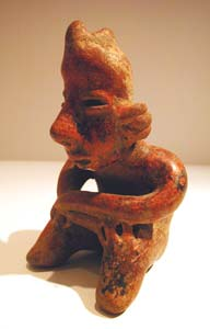San Sebastián Style Nayarit Terracotta Sculpture of a Seated Man