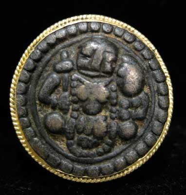 Gold Ring with A Buddhist  bronze Roundel