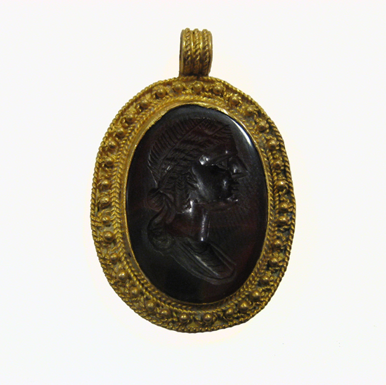 Intaglio Set in a Gold Pendant