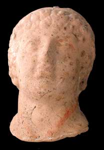 Roman Terracotta Sculpture of a Head of Emperor Domitian