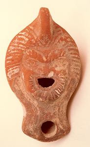 Terracotta Oil Lamp With Theatrical Mask