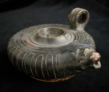 Campanian Black-Glazed Guttus with Lion Head Spout