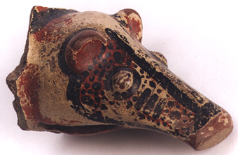 Polychrome Bowl Support in the  Form of a Head of an Animal