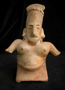 San Juanito Style Jalisco Terracotta Sculpture of a Seated Pregnant Woman