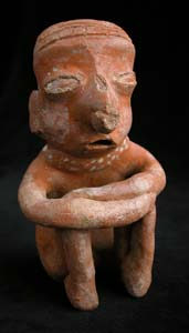 Ixtlán del Rio Style Nayarit Terracotta Sculpture of a Seated Man