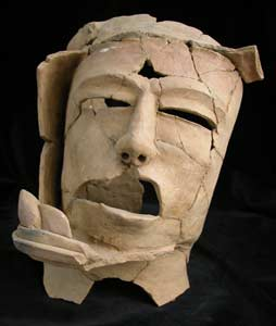 Mayan Head of a Priest Wearing a Jaguar Headdress