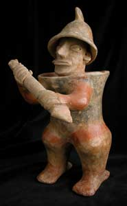 Ameca-Ezatlán Style Jalisco Terracotta Sculpture of a Warrior Holding a Club