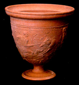 Gallo-Roman Terracotta Chalice with Molded Decorations