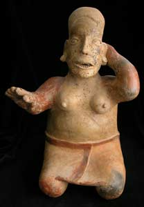 Ameca-Ezatlán Style Jalisco Terracotta Sculpture of a Kneeling Woman