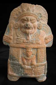 Mayan Molded Whistle Depicting a Demon Deity