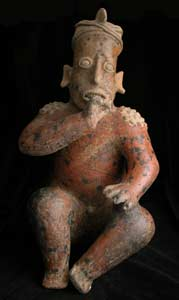 Ameca-Ezatlán Style Jalisco Sculpture of Seated Man Wearing Crested Helmet