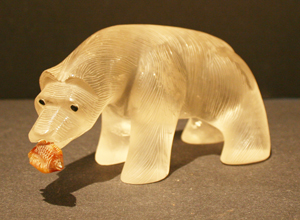 Rock Crystal Polar Bear With Carnelian Fish