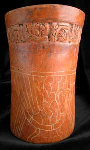 Mayan Carved Cylindrical Vase