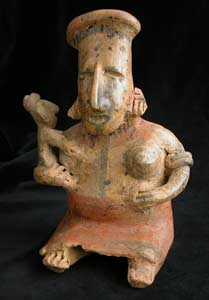 San Juanito Style Jalisco Terracotta Sculpture of a Seated Woman Holding a Child